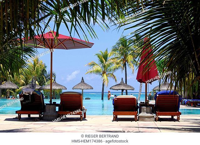 Mauritius island, Morne Brabant region, swimming pool of the Dinarobin Hotel
