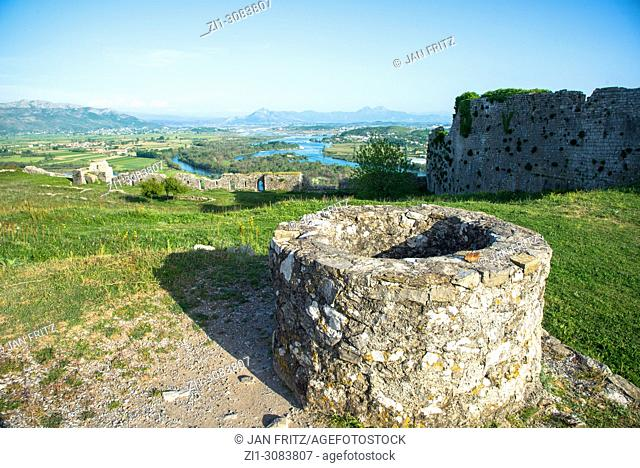 remains of waterwell at castle at Skhodra, Albania