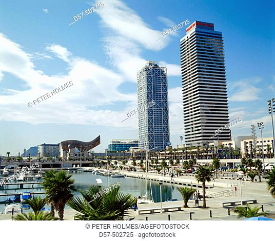 Mapfre tower and Hotel Arts. Olympic port. Olympic Village. Barcelona. Spain