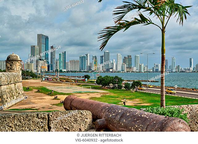 COLOMBIA, CARTAGENA DE INDIAS, 27.08.2017, view over cannon of old town to skyline of new district Bocagrande, Cartagena de Indias, Colombia