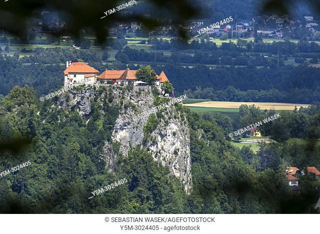 Bled Castle seen from Mala Osojnica, Upper Carniola, Slovenia, Europe