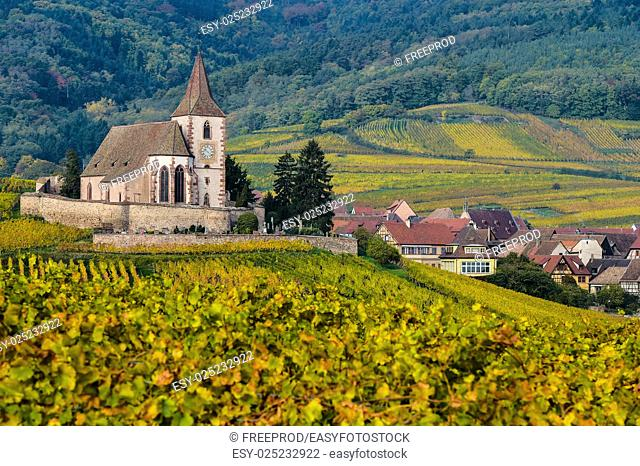 France, Haut-Rhin, 68, Route des vins d'Alsace, Hunawihr, labeled The Most Beautiful Villages of France, Church of Sainte-Hune