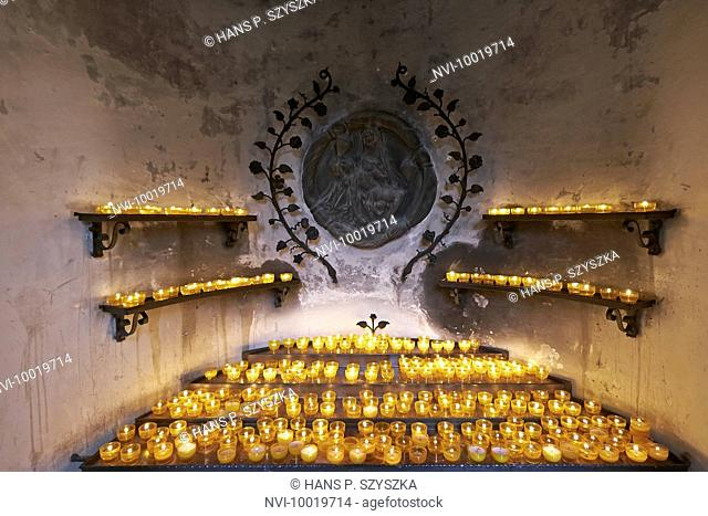 Votive candles in the pilgrimage church Maria im Sand near Dettelbach, Lower Franconia, Bavaria, Germany