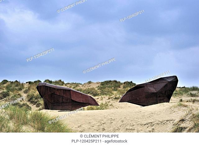 Two Corten Armours, steal sculptures by artist Magdalena Abakanowicz in the dunes during Beaufort04 at Middelkerke - Westende, Belgium