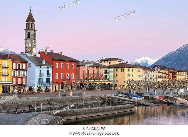 The little village of Ascona during winter sunset, Lago Maggiore, Canton Ticino, Switzerland, Europe