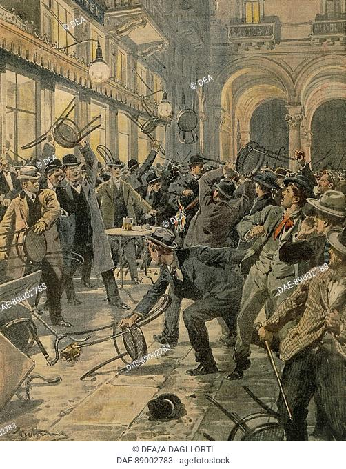 General workers strike in Milan: Riots in Galleria Vittorio Emanuele II. Illustrator Achille Beltrame (1871-1945), from La Domenica del Corriere, 1906