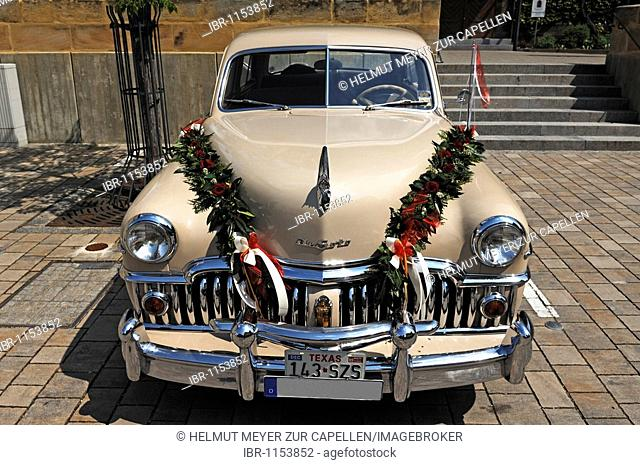 Chrysler DeSoto Custom 4 door sedan, 1949, decorated as a wedding car, Eckental, Middle Franconia, Bavaria, Germany, Europe