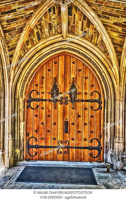 Beautiful antique dooor, World famous Princeton University, New Jersey, USA