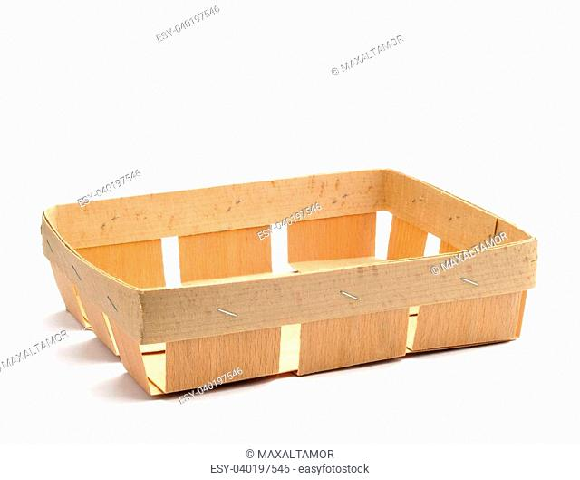 Little wooden crate in Ochroma pyramidale wood, isolated on white background