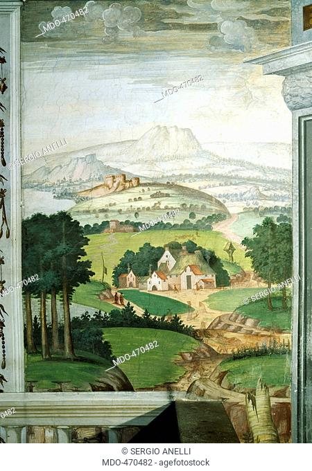 Villa Cicogna Mozzoni a Bisuschio, by Lombard Anonymous Artist, 1550, 16th Century, Fresco, . Italy, Lombardy, Varese, Bisuschio, Villa Cicogna Mozzoni