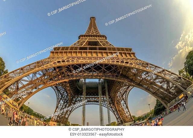 Fish-Eye view of Eiffel Tower