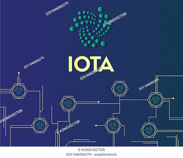 Cryptocurrency IOTA circuit concept background style vector illustration