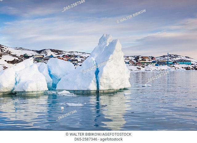 Greenland, Disko Bay, Ilulissat, town view from floating ice, sunset