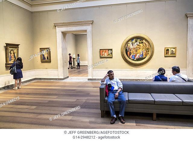 Washington DC, District of Columbia, National Gallery of Art, museum, painting, Renaissance, interior inside, Quattrocento, Fra Filippo Lippi, Asian, man