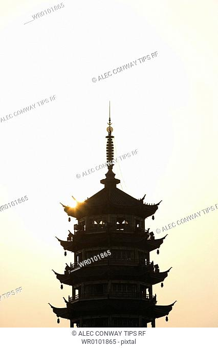 China, Guangxi Province, Guilin. The Tower of the Suna, in Fir Lake