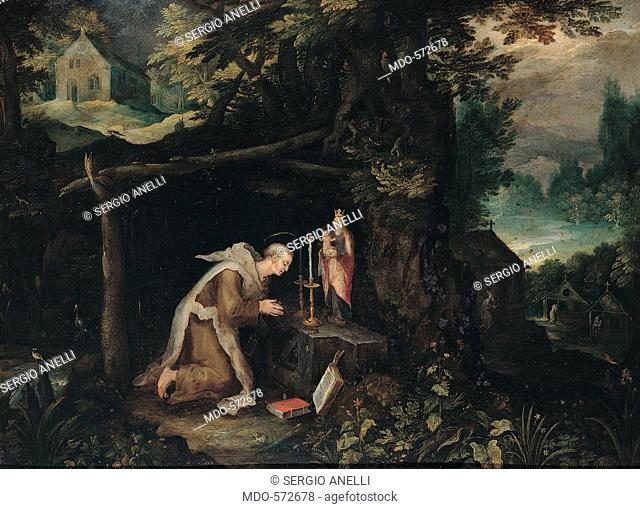 Retreat with Hermit, by probably Bruegel Jan called Bruegel the Elder, 17th Century, oil on copper. Italy, Lombardy, Milan, Brera Art Gallery. All