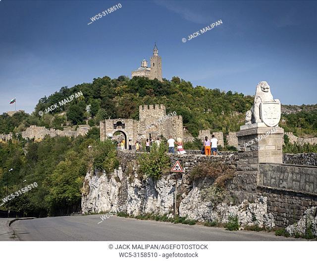 tsarevets castle fortress famous landmark view in veliko tarnovo bulgaria