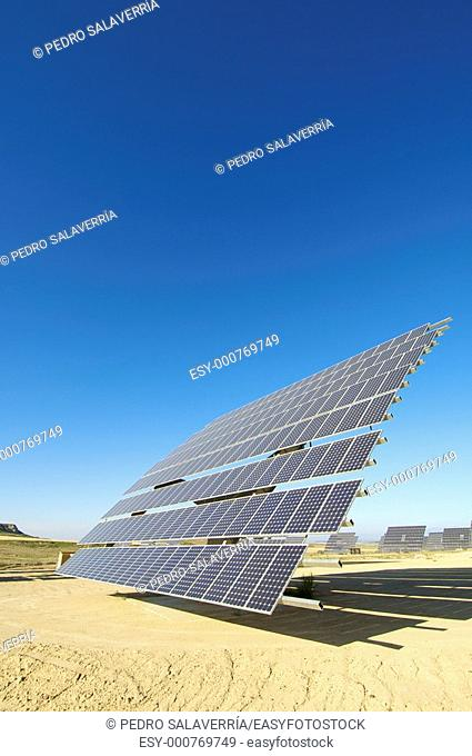 huge solar field with blue sky in Ejea de los Caballeros, Saragossa, Aragon, Spain