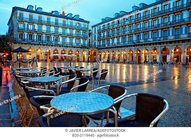 Plaza de la Constitución square. Donostia. San Sebastian. Gipuzkoa. Basque Country. Spain