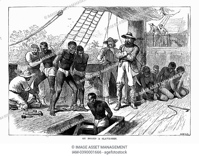 Captives being brought on board a slave ship on the West Coast of Africa Slave Coast. Wood engraving c1880