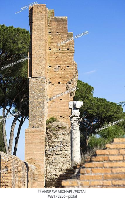 Domus Flavia. So called Basilica Ruins on Palatine Hill, Rome, Lazio, Italy