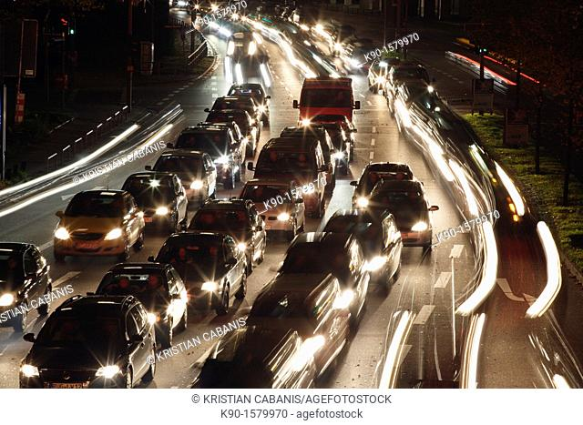 Traffic jam on a six lane road in the heart of the city, Hamburg, Germany Europe