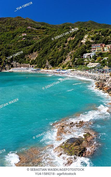 Beach at Moneglia, Riviera di Levante, Province of Genoa, Liguria, Italy, Europe