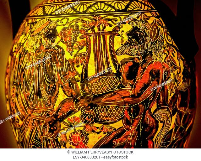 Apollo Giving Orpheus Lyre, Musical instrument, Greek Ancient Replica Pottery Chariot Athens Greece