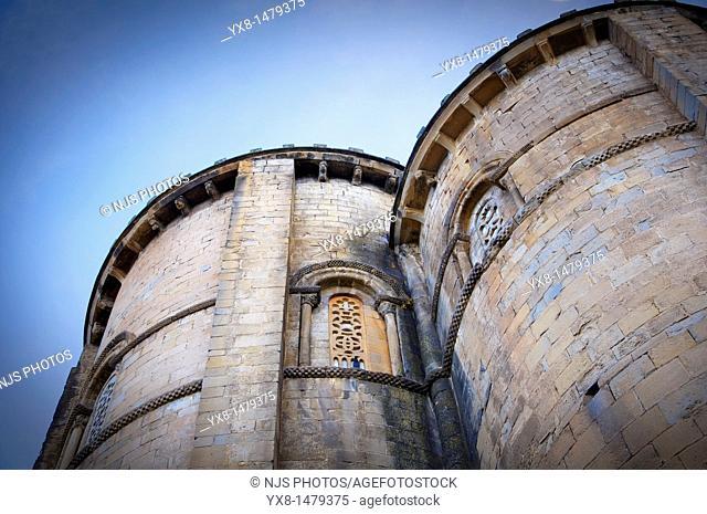 San Esteban church apses view, Romanesque origin S  IX, Sos del Rey Católico, Cinco Villas region, Zaragoza, Aragon, Spain