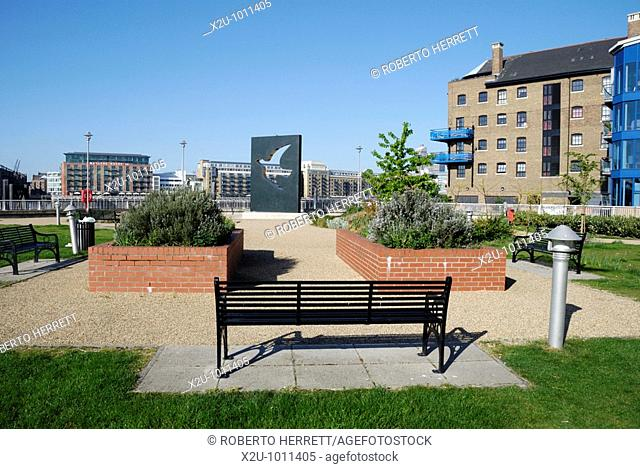 Hermitage Riverside Memorial Garden in Wapping, London, England  The garden commemorates the civilians who died in the London blitz bombings which commenced on...
