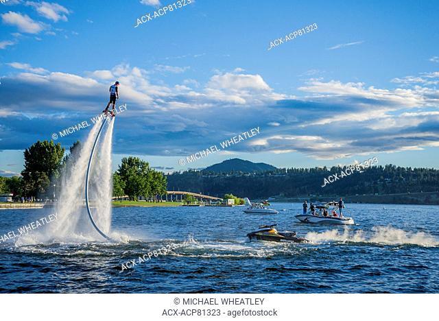 Flyboarder, Okanagan Lake, Kelowna,,British Columbia, Canada