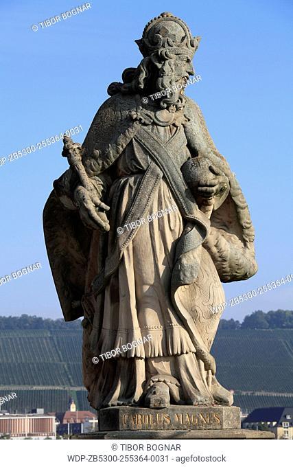 Germany, Bavaria, Würzburg, Old Bridge, Charlemagne statue
