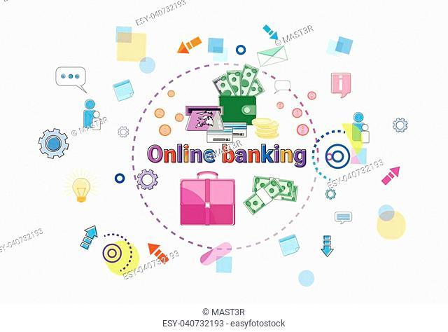 Banking Online Concept Internet Mobile Payment Banner Vector Illustration