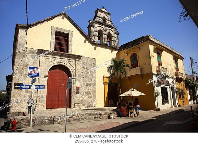 View to the Parroquia San Roque at the historic center, Cartagena de Indias, Bolivar, Colombia, South America