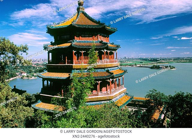 Summer Palace - Tower of Buddhist Incense on Kunming Lake. Beijing, China