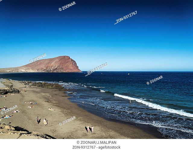 las tejitas beach and montana roja in south tenerife spain