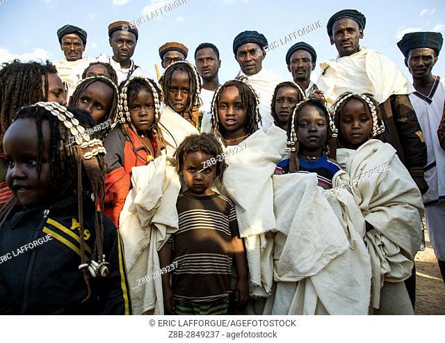 Dabale age grade boys during the Gada system ceremony in Borana tribe, Oromia, Yabelo, Ethiopia