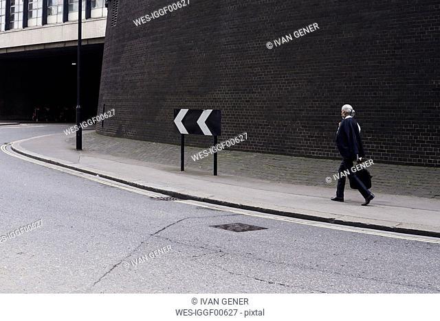 Senior businessman with luggage walking on pavement