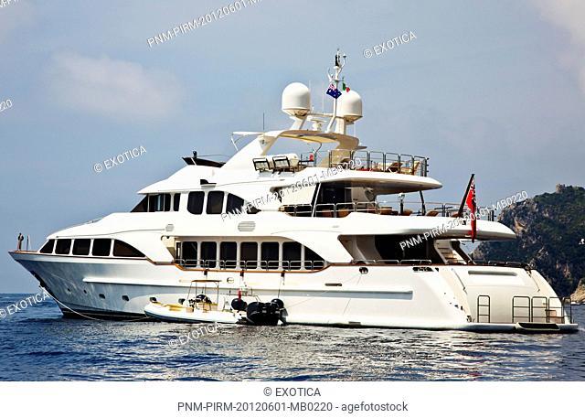 Ferry in the sea, Capri, Campania, Italy