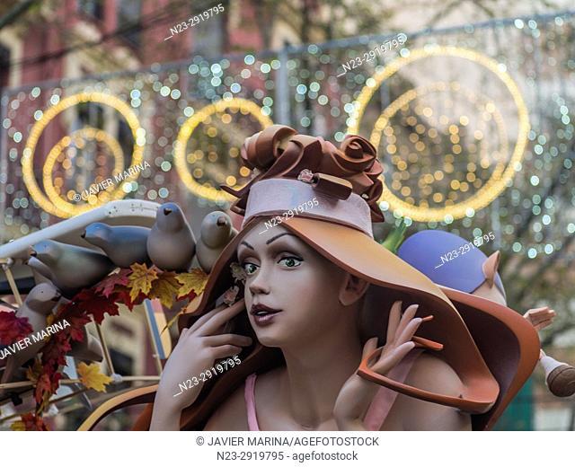 Fallas 2017. Obispo Amigó square, Valencia, Spain. The Falles is a traditional celebration held in commemoration of Saint Joseph in the city of Valencia, Spain