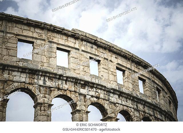 Detail of Ancient Roman Amphitheatre in Pula, Croatia