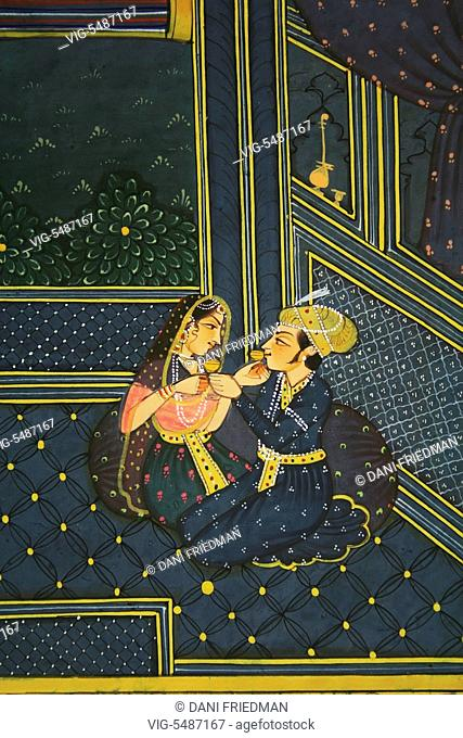 INDIA, JAIPUR, 19.08.2009, A miniature Mughal painting depicting a royal couple in love drinking wine on the palace terrace