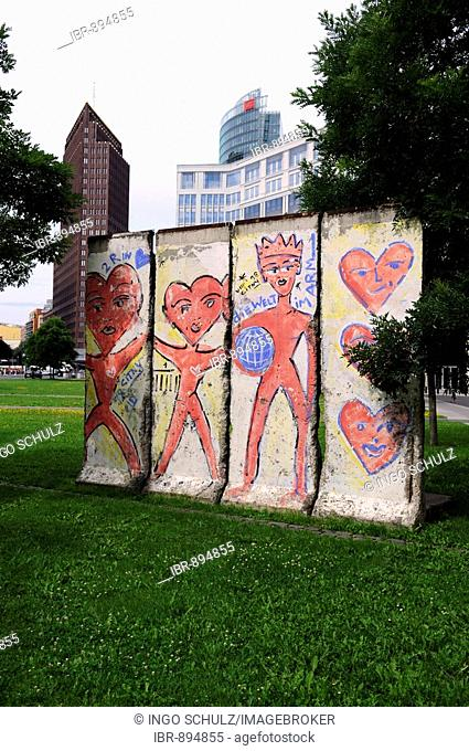 Exhibited parts of the former Berlin Wall on Leipziger Platz Square, Berlin, Germany, Europe