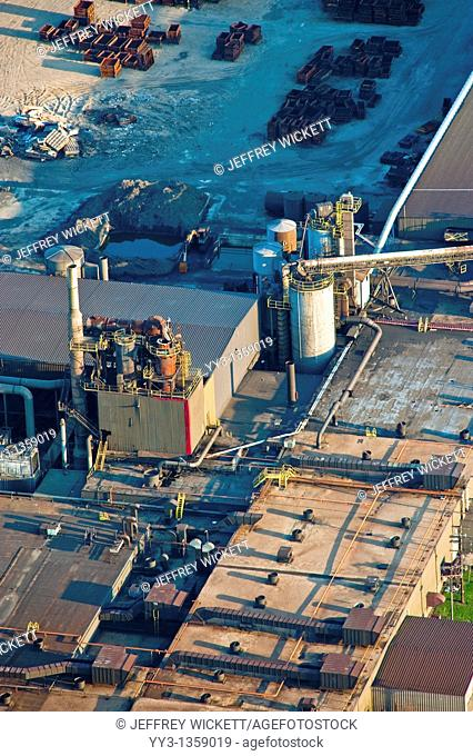 Aerial image of closed foundry in Rothbury, Michigan  The plant was placed on indefinite shutdown in 2009  The company received state and local tax breaks for...