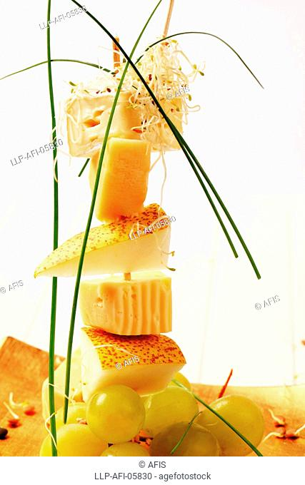 Cheese and pear skewer