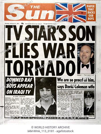 Headline in 'The Sun' a British tabloid newspaper, 21st January 1991, concerning British RAF pilots during the Gulf War (2 August 1990 - 28 February 1991)