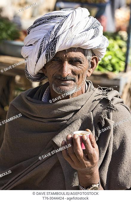 Turbaned man enjoying tea, Jodhpur, Rajasthan, India