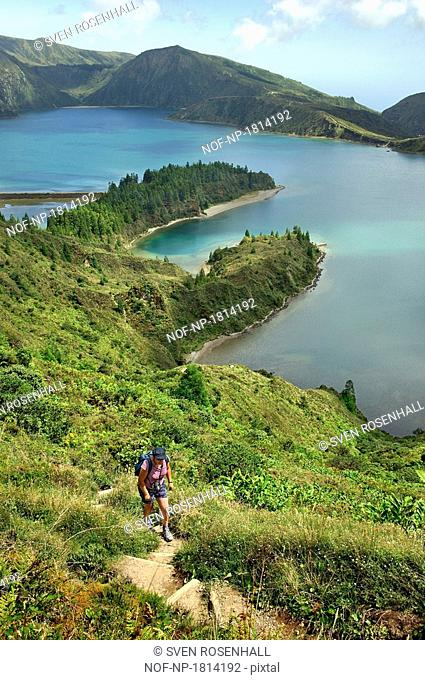 Portugal, Azores, Lagoa do Fogo - High angle view of a lake