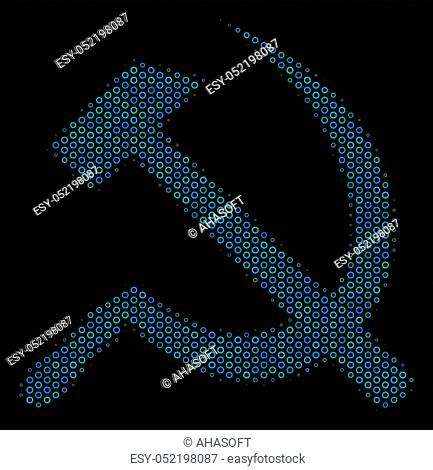 Halftone Sickle and hammer composition icon of spheres in blue color tones on a black background. Vector round spheres are organized into sickle and hammer...