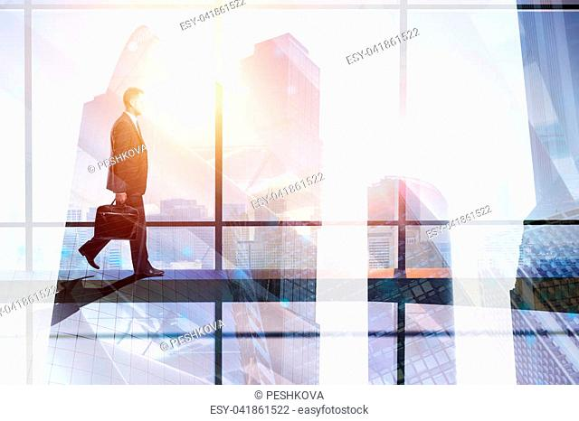 Success and occupation concept. Businessman walking on abstract city background with copy space. Toned image. Double exposure